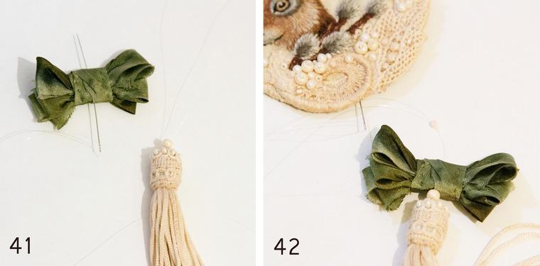 Вышитая брошка с пасхальным зайкой и веточкой вербы, фото № 21