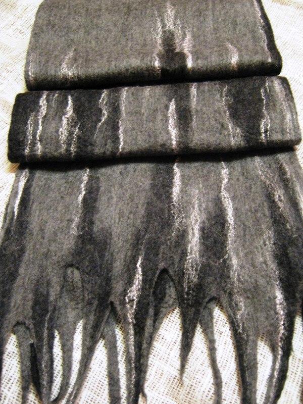 мокрое валяние, свалять нуно-шарф, мастер-класс по валянию, валяние из шерсти, мужской подарок, мужской шарф