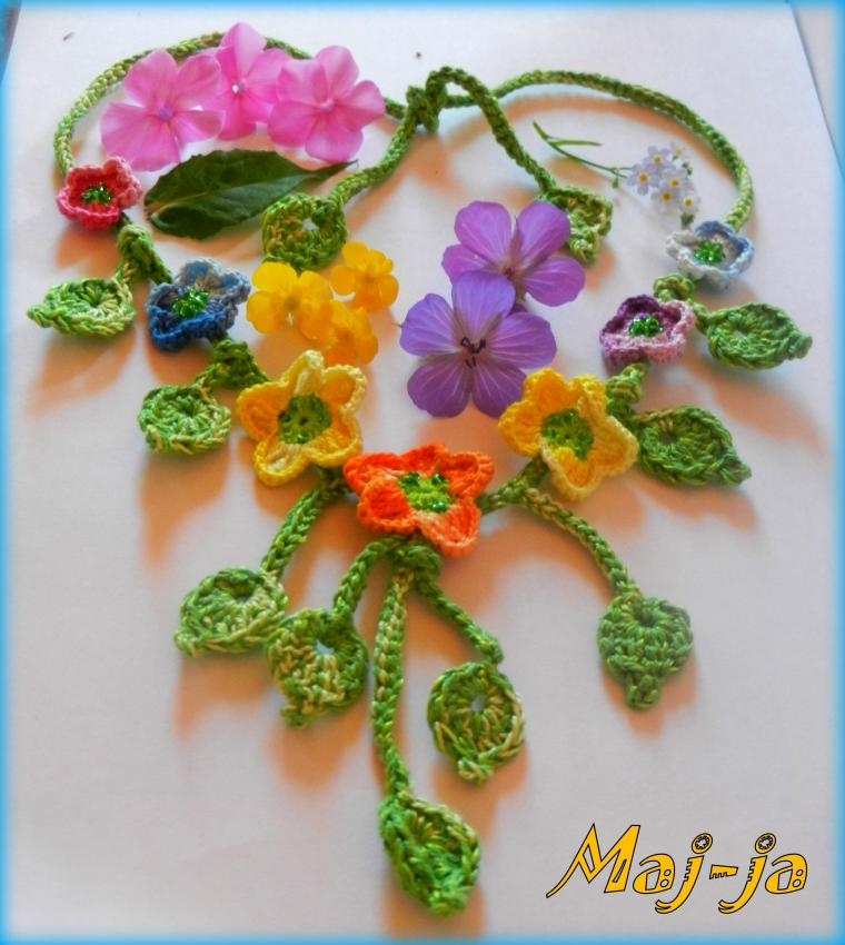 вязаные цветы, мода 2015, ромашки, необычные украшения