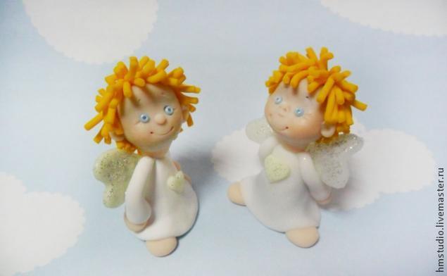 Рождественский ангел из полимерной глины, фото № 25