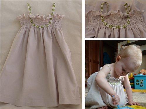Из футболки сделать платье для девочки