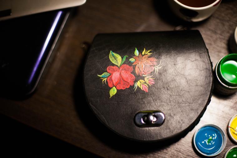 сумка ручной работы, русский стиль, цветы