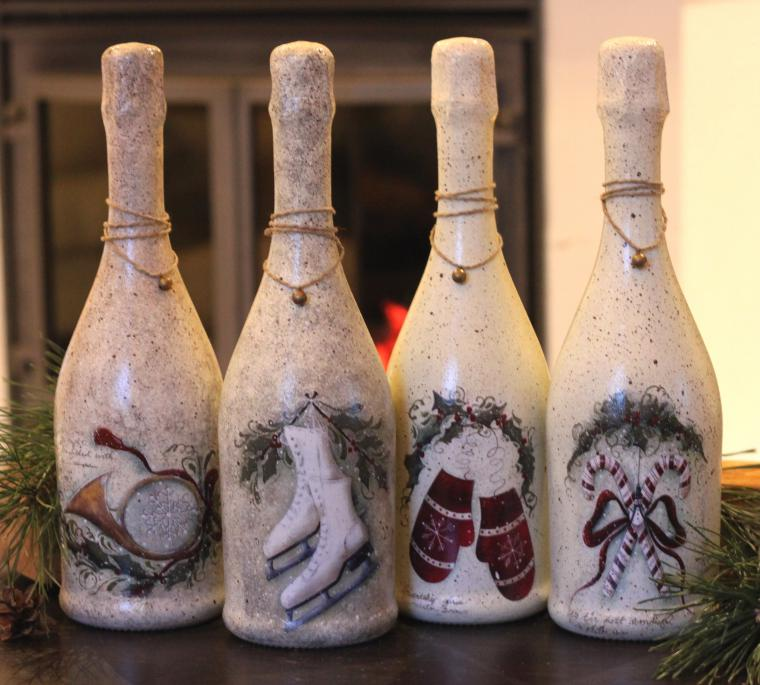 Декупаж бутылки мастер класс на новый год