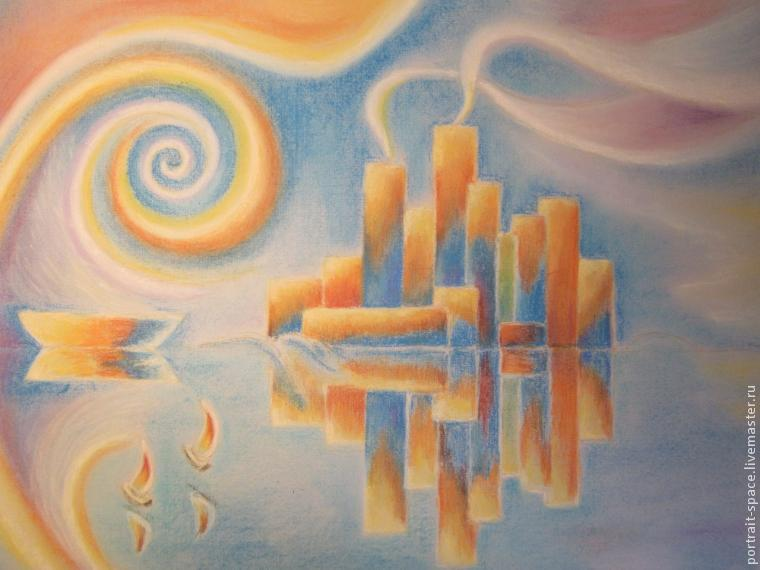 Город пастелью рисуем