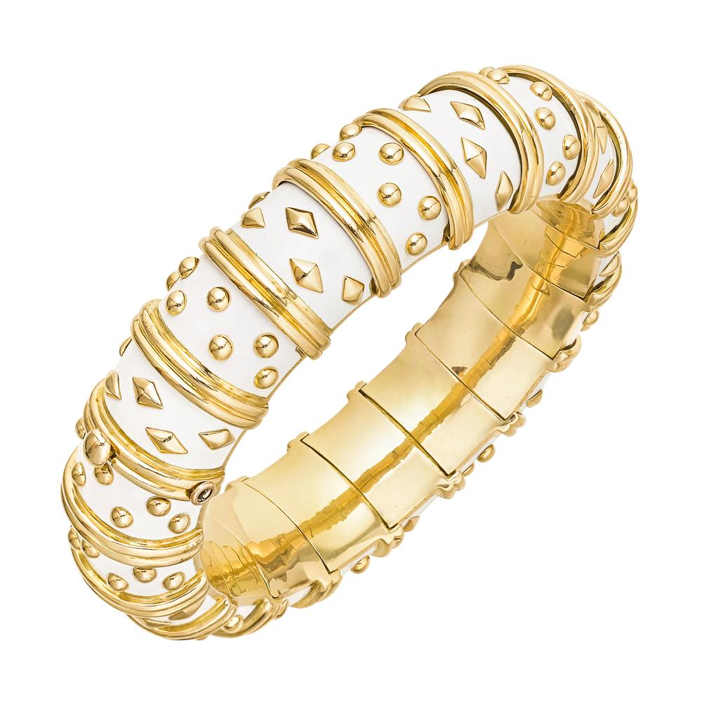 Tiffany & Ко Schlumberger 18-каратного золота и белой эмалью браслет