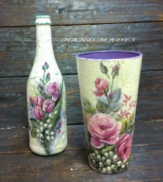 Декупаж стеклянной вазы своими руками