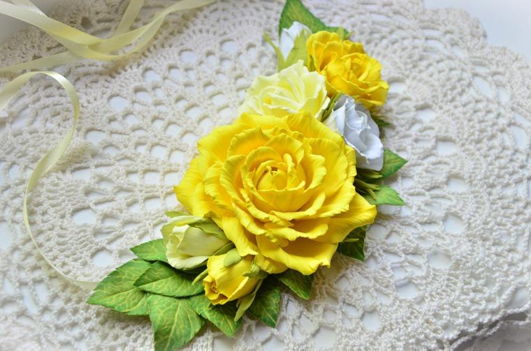 Желтые цветы из фоамирана