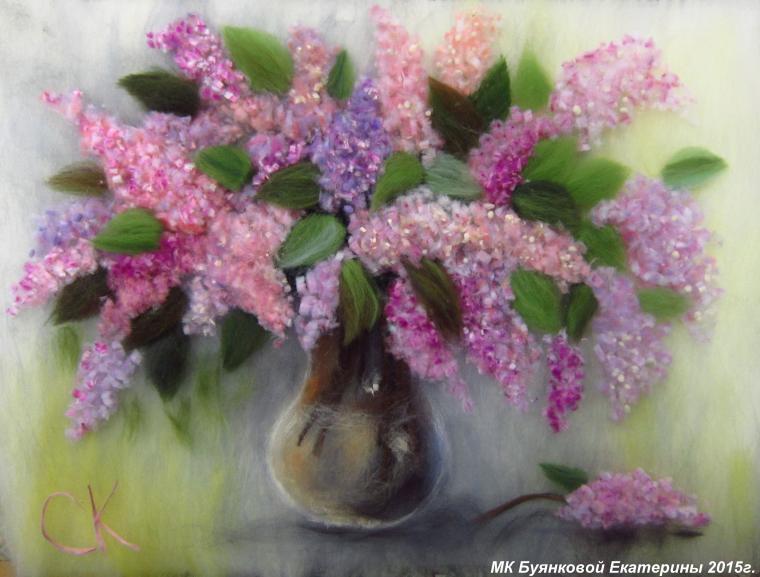 шерстяная акварель, цветы из шерсти, мастер-класс, йорк