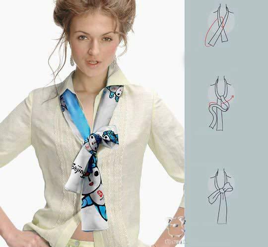 Как завязать платок женский на платье
