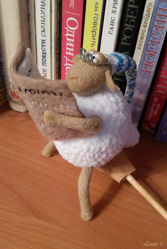 овечка, ручная работа, валяние, игрушка из шерсти