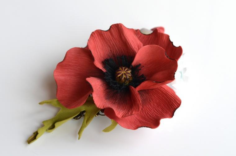 мастер-класс, цветы из фоамирана, ревелюр, цветок-брошь