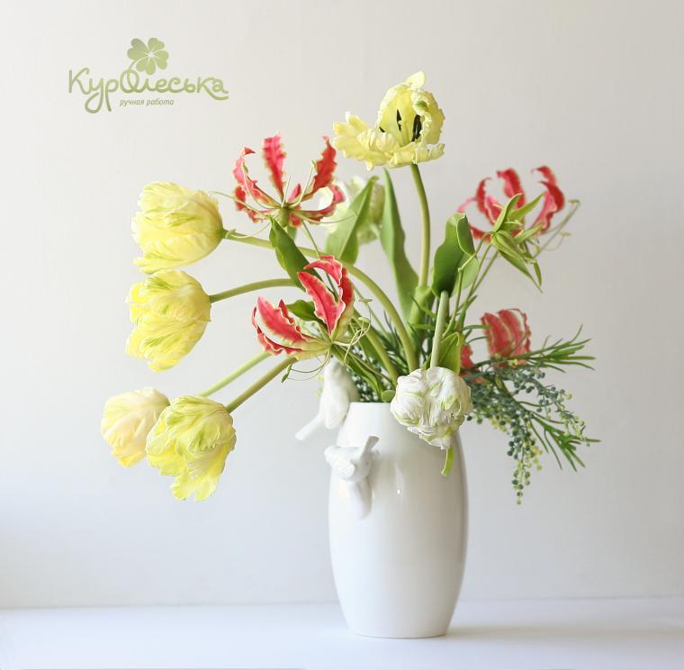 неувядающие цветы, мастер класс глориоза, мастер класс по лепке, цветы ручной работы, подарок своими руками, цветы которые не вянут, реалистичный цветы