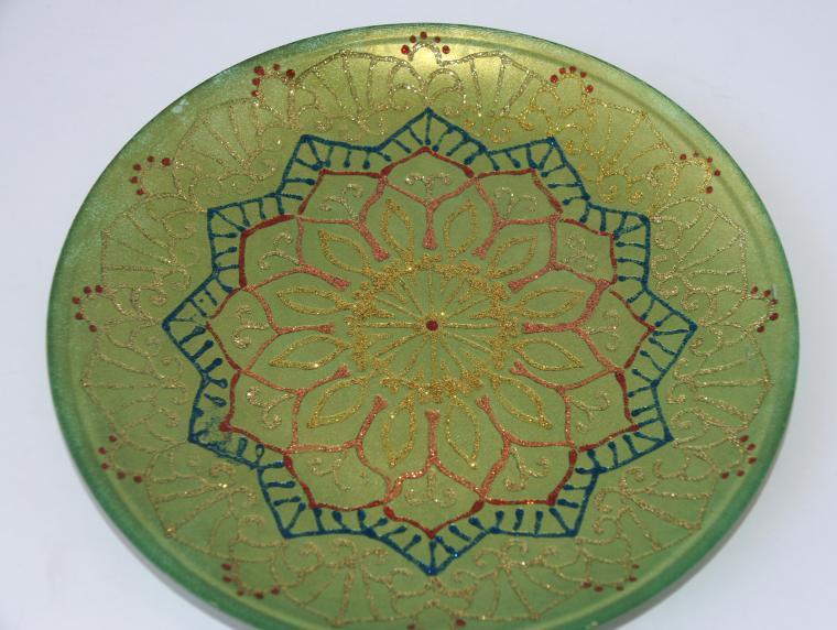 роспись по стеклу, тарелка, витражная роспись