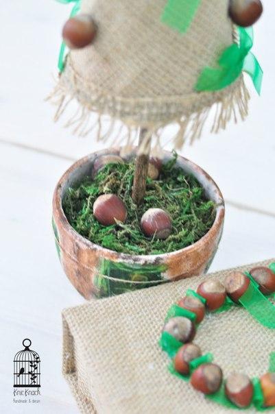 елка, подарок на новый год, природные материалы