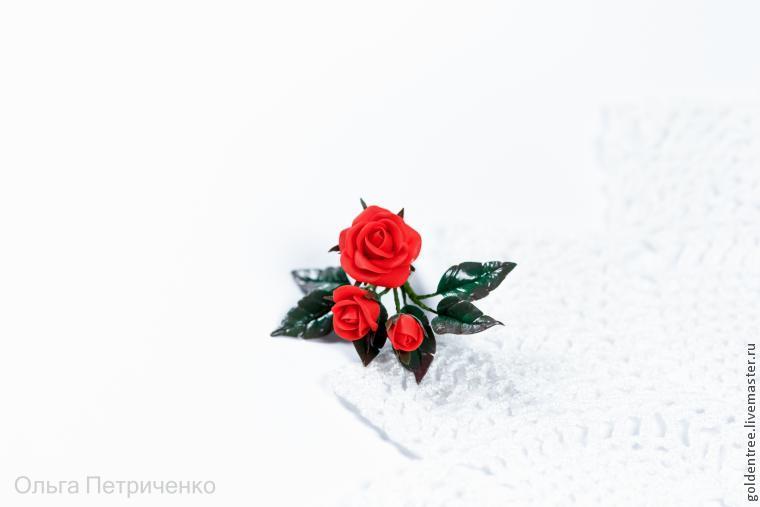 брошь, розы