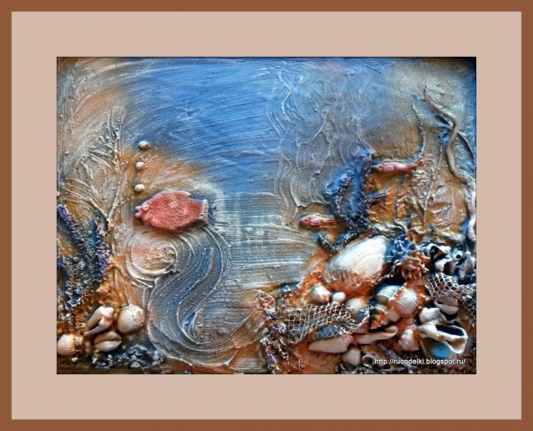 флористика, морская тематика, флористический коллаж