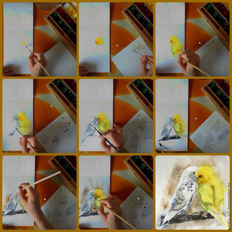 попугайчики, мк, акварель, картина акварелью