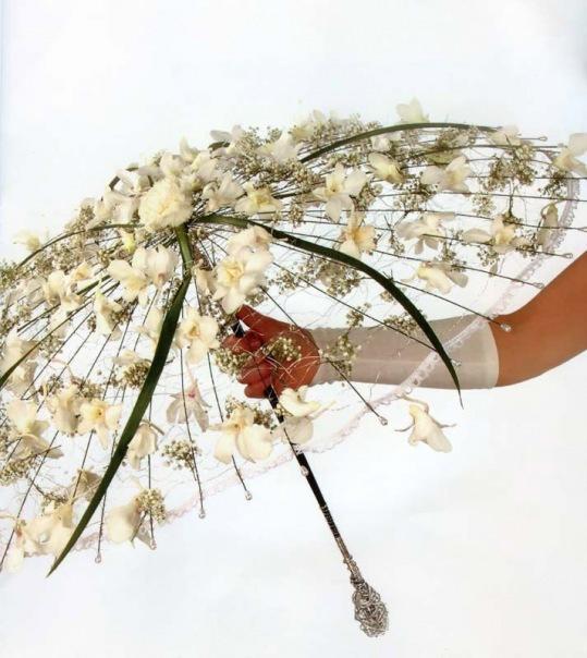 цветы, для невесты, необычный зонт