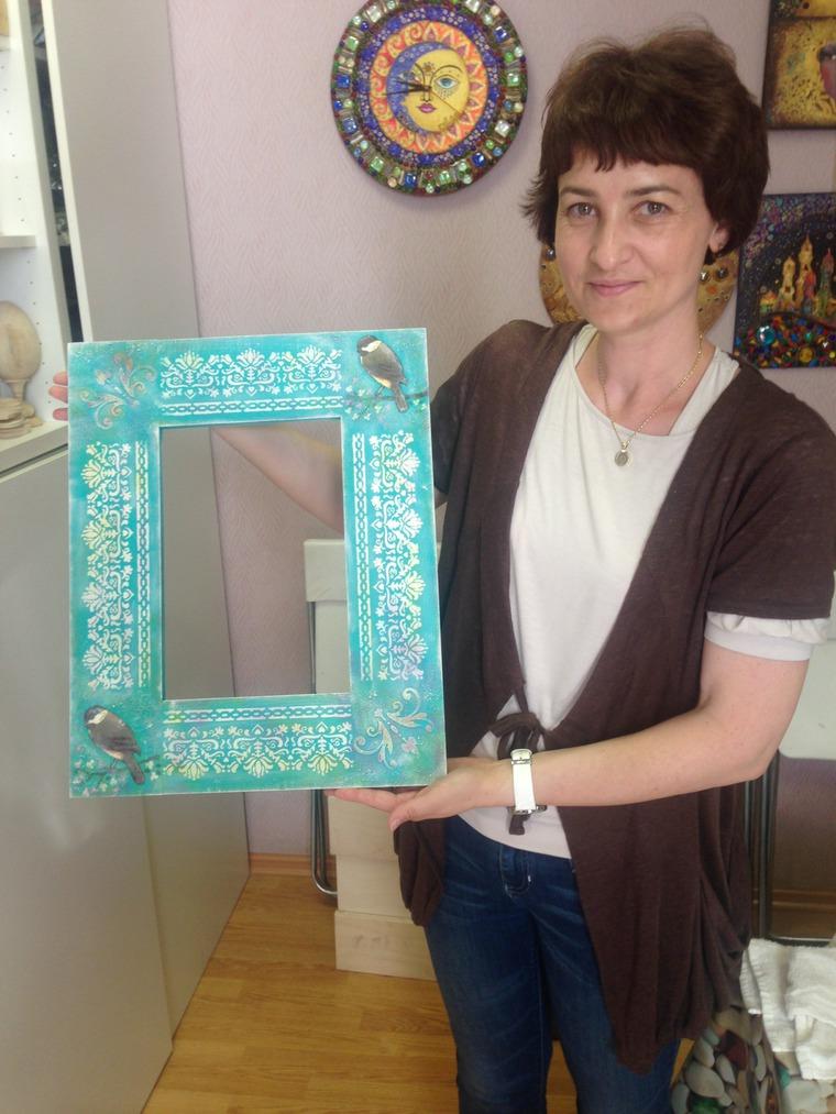 Рама для зеркала с 3D-декупажем и множеством объемных техник!, фото № 8