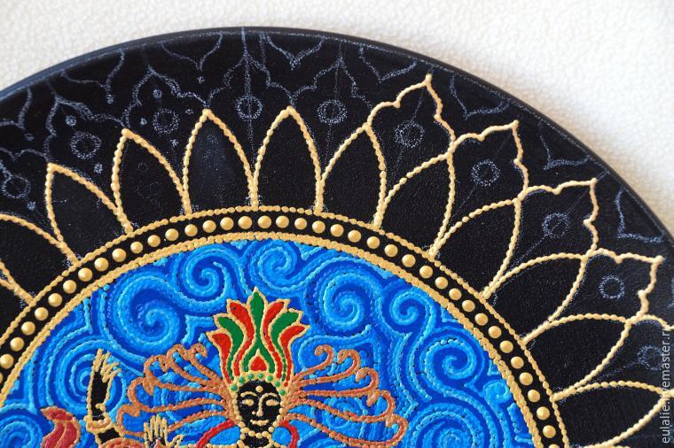 Мастер-класс по точечной росписи: тарелка-панно «танцующий Шива», фото № 11