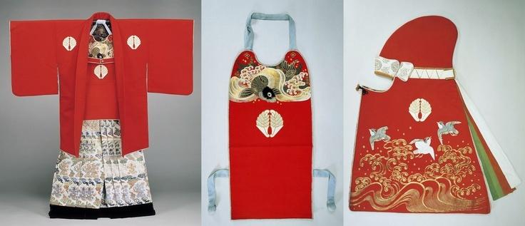 Antique samurai kaji haori, muneate and zunin (coat, breast cover and hood of a samurai fire official).
