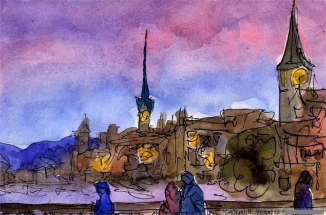 Путешествуем с Михаилом Щербаковым (Vokabre): быстрые зарисовки акварелью, фото № 35