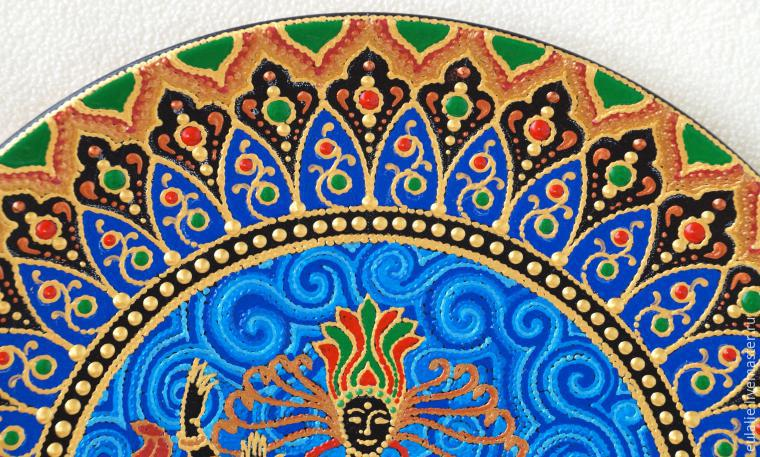 Мастер-класс по точечной росписи: тарелка-панно «танцующий Шива», фото № 20