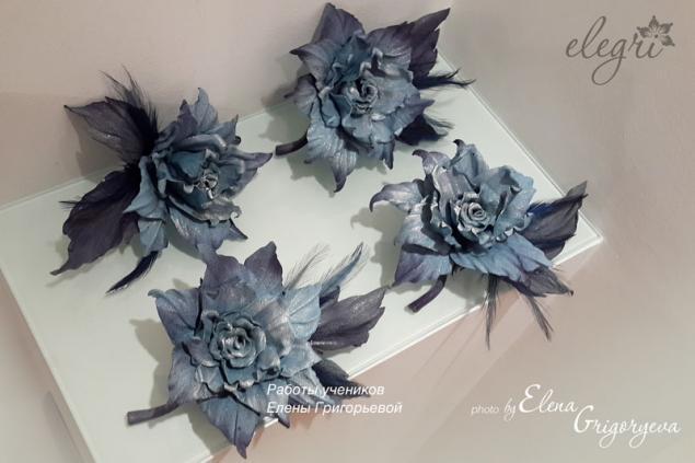 елена григорьева цветы, обучение цветы из кожи, цветы с перьями