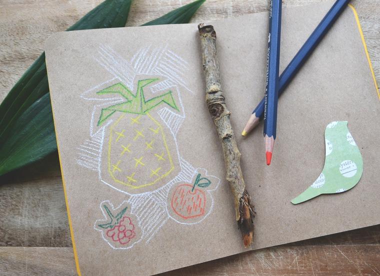блокнот ручной работы, ананас, солнечный, тропики, настроение