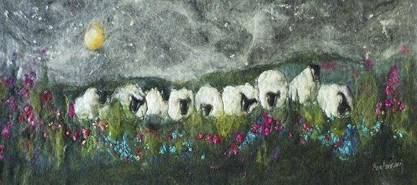 мастер-класс, валяние, мокрое валяние, картина для интерьера, овечки, индивидуальные занятия, ручная работа