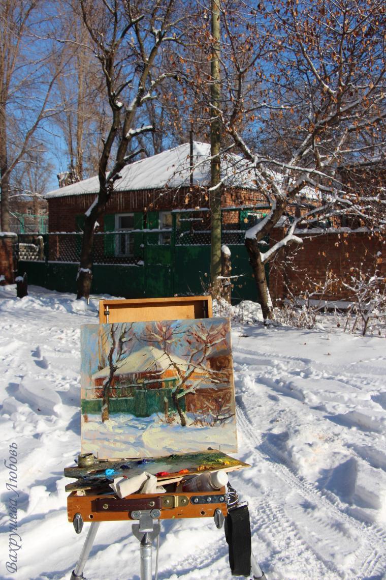 снег, рождество, мороз, живопись на морозе