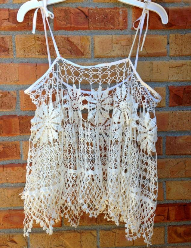 бабушкина салфетка, одежда из салфетки, вязаная маечка