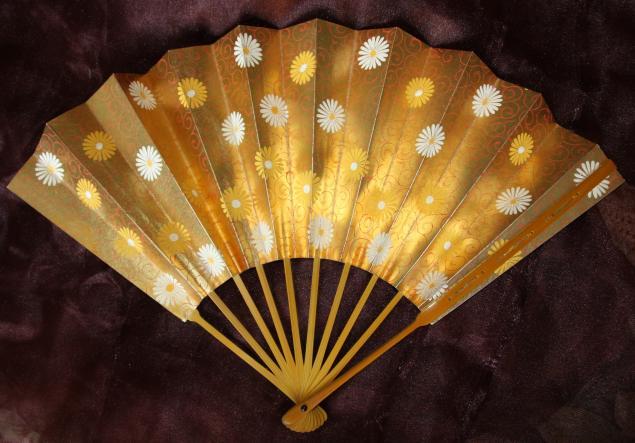 японский веер, японский винтажный веер
