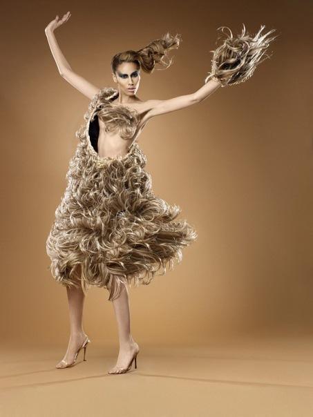 современное искусство, платье из волос