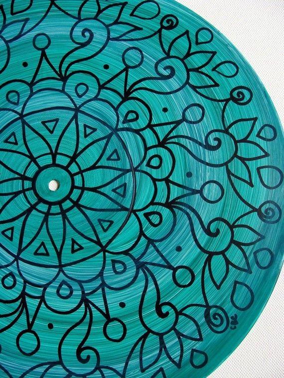 Dark Turquoise Turntable Art - Original Mandala Painting on Vinyl Record in Turquoise/Teal/Aqua - Tribal Inspired Sacred Geometry