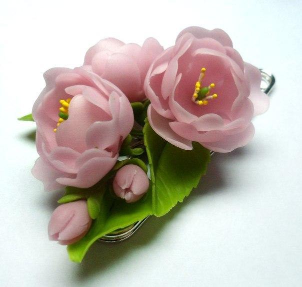 цветы ручной работы, керамическая флористика, украшения ручной работы, украшения с цветами, подарок своими руками, подарок на новый год, бижутерия своими руками