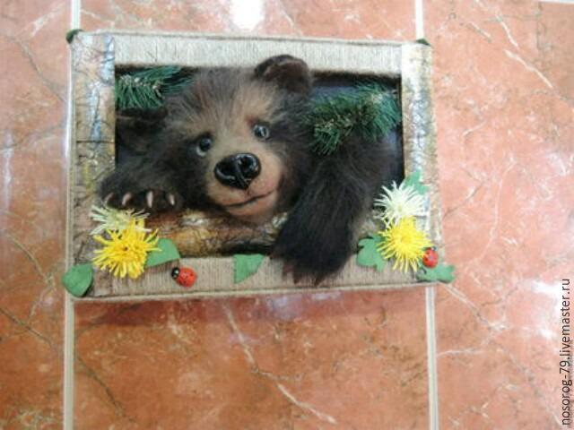 «Пробирается медведь сквозь лесной валежник...». Создаем из шерсти панно «Пробуждение», фото № 30