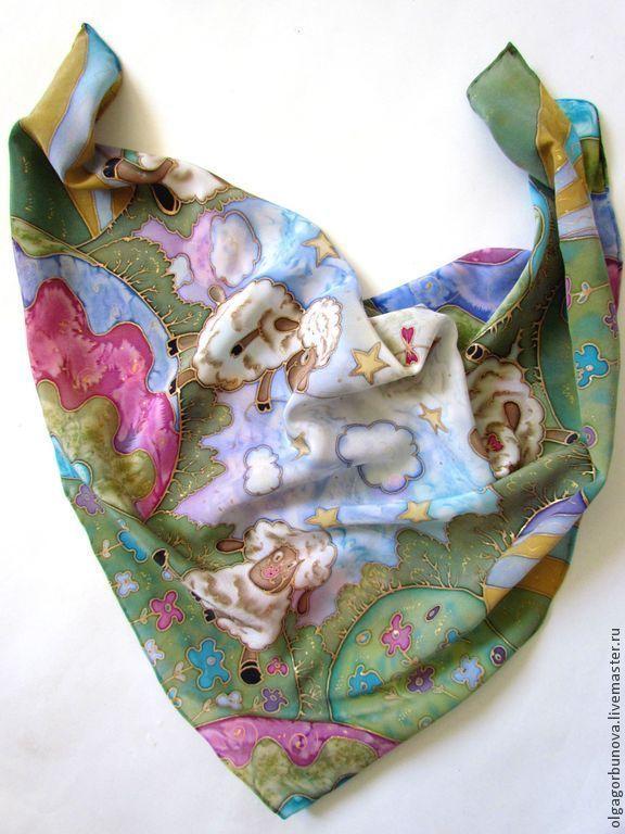 шёлковый платок, платок батик