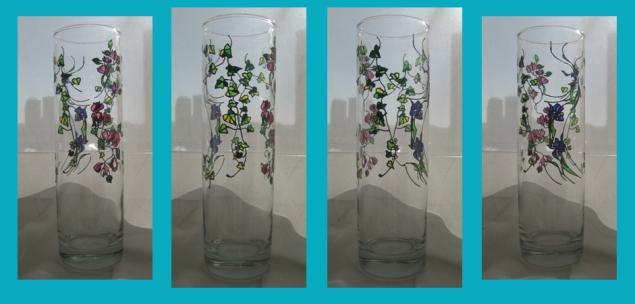 витражная роспись, ваза, стекло, роспись по стеклу, роспись контурами