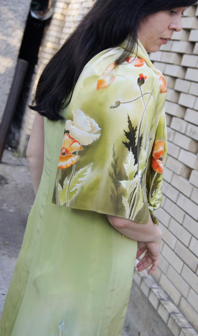 платье шелковое батик, костюм вечерний, платье длинное