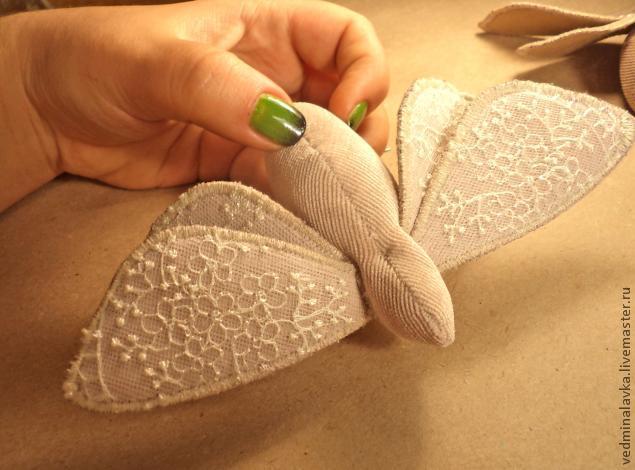 Текстильная брошь-мотылек, фото № 17