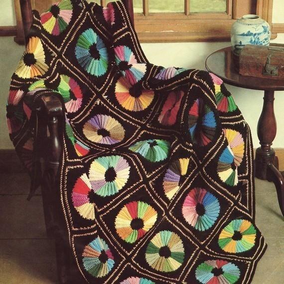 Colour Wheel Afghan Vintage Retro