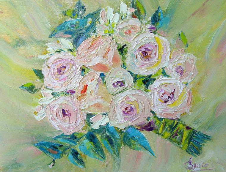 розы, розыгрыш приза, картина маслом