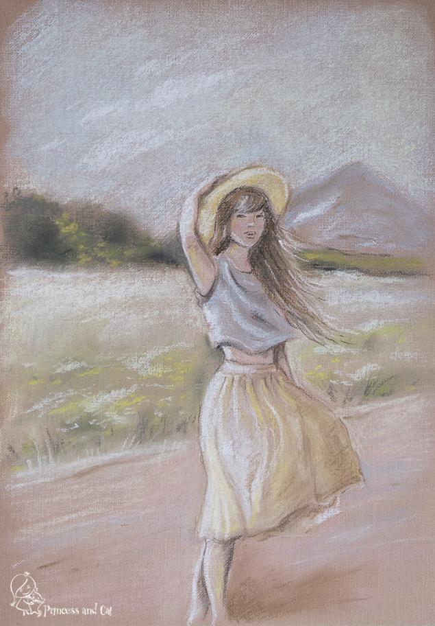 картина пастелью, кремовый