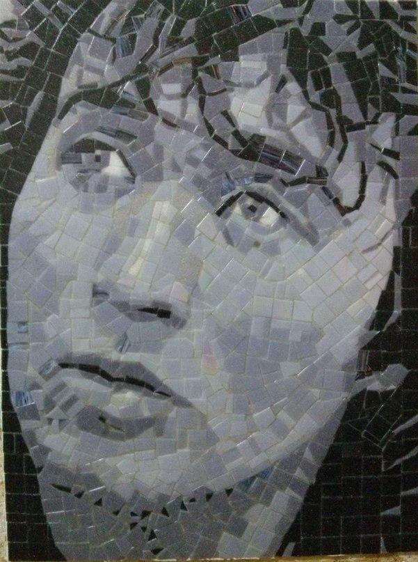 портрет из мозаики, мма, mosaic, дизайн интерьеров, картина