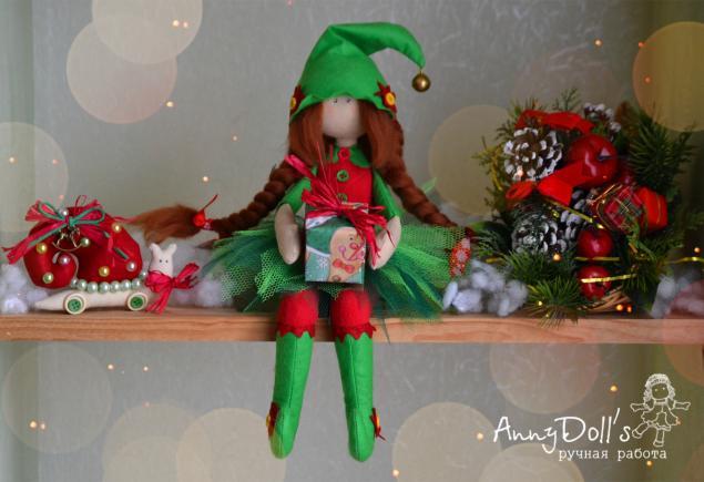 сидячая кукла, авторская работа, ручная работа, эльф, новый год, рождество, улитка, комплект, зима, куколка, гном, бубенцы, праздник, подарок 2014, помощник, зелёный, красный