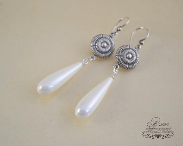 жемчуг shell perl, агата, капли из жемчуга