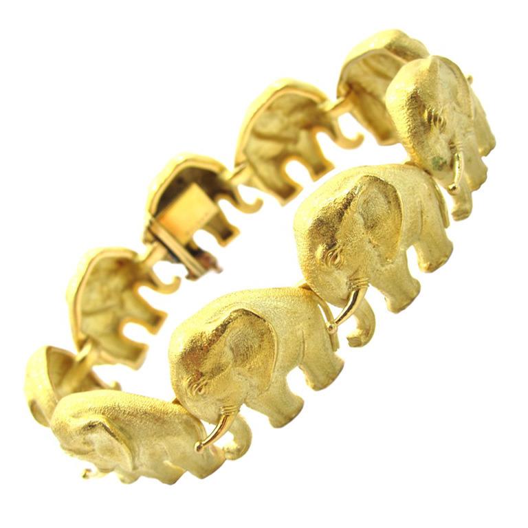 Bulgari Редкие желтого золота слон Браслет с мотивом