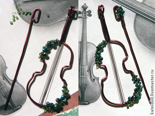 брошь-скрипка