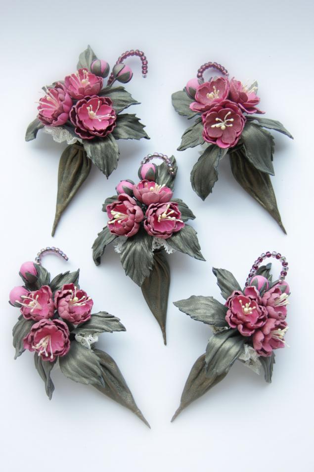 кожаная флористика, авторская работа, весенние цветы